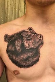 男生胸部黑色点刺抽象线条小动物熊纹身图片