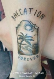 女生小腿上黑灰素描点刺技巧创意文艺唯美椰树纹身图片