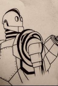 男生胸部黑色幾何元素簡單線條機器人紋身圖片