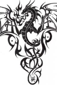 黑灰素描创意精致霸气恐龙图腾复古纹身手稿