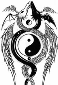 黑色线条素描霸气精致飞龙阴阳八卦纹身手稿