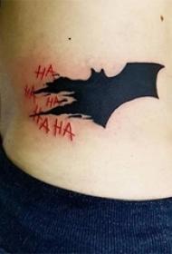 蝙蝠侠的黑色蝙蝠纹身图案