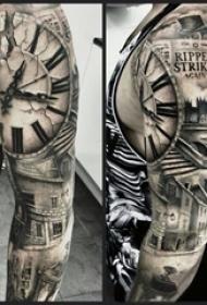 花臂纹身男生手臂上钟表花臂纹身图片
