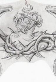 黑灰素描创意文艺藤蔓心形纹身手稿