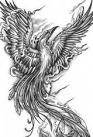 黑灰素描创意霸气展翅凤凰纹身手稿