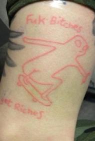男生小腿上红色简单线条英文和卡通人物纹身图片