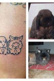 女生大腿上黑色简单线条小动物宠物兔子纹身图片