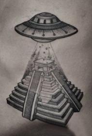 多款黑色线条素描创意有趣宇宙飞碟纹身图案