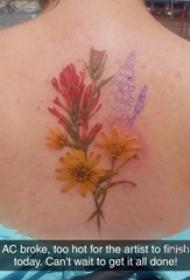 女生后背上彩绘渐变简单线条植物花束纹身图片