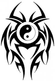 黑色线条素描几何元素图腾阴阳八卦图腾纹身手稿