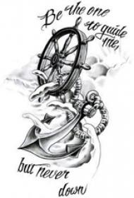 黑灰素描创意精致海军风船锚纹身手稿