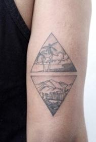 男生手臂上黑色点刺几何简单线条椰树和建筑风景纹身图片