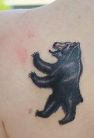 女生后背上黑色点刺简单线条小动物熊纹身图片