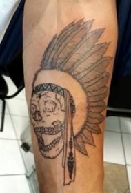 男生手臂上黑色点刺简单线条骷髅印第安人纹身图片