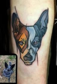 男生手臂上彩绘渐变简单抽象线条小动物宠物狗纹身图片
