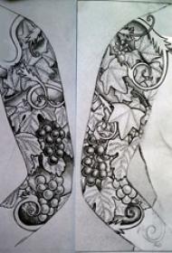 花臂手稿黑灰的經典花臂紋身手稿
