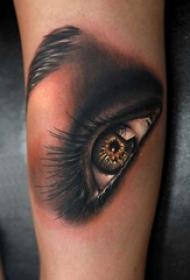 男生手臂上黑灰素描点刺技巧唯美眼睛纹身图片