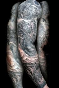 多款男生手臂上黑色线条素描点刺技巧霸气花臂纹身图案