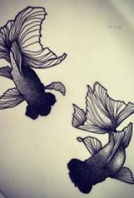 黑灰素描点刺技巧文艺小清新金鱼动物纹身手稿