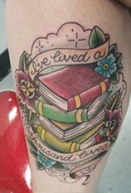 女生小腿上彩绘水彩素描创意文艺书本纹身图片