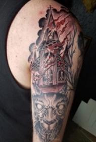 男生手臂上彩绘水彩素描创意城堡纹身图片