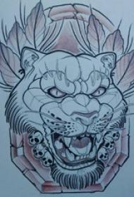 黑色线条素描创意霸气豹子头纹身手稿