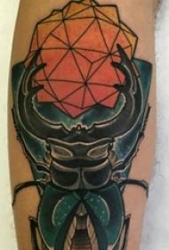 男生手臂上彩绘渐变几何简单线条昆虫纹身图片