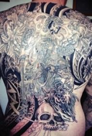 多款黑灰素描点刺技巧霸气精致武士纹身图案