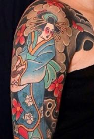 多款线条素描经典日本传统图腾艺妓纹身图案