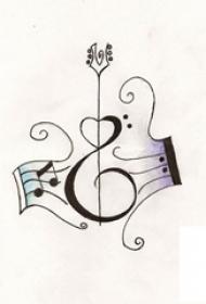 多款黑色线条素描经典文艺唯美吉他纹身手稿