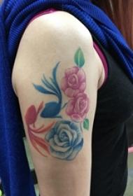 女生手臂上彩绘渐变简单线条植物花朵和金鱼纹身图片