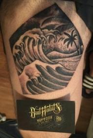 浪花纹身男生大腿上浪花纹身图片