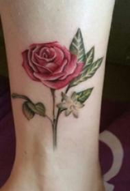 女生脚踝上彩绘渐变简单线条唯美玫瑰纹身图片