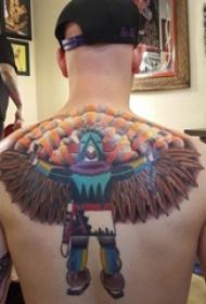 男生背部彩绘水彩素描创意有趣霸气人物纹身图片