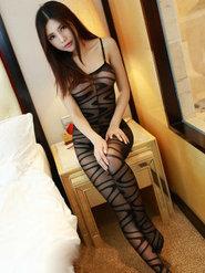 美艷少女綺里嘉連體絲襪原味黑絲襪賓館寫真