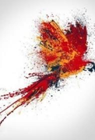 彩绘水彩素描创意霸气展翅凤凰纹身手稿