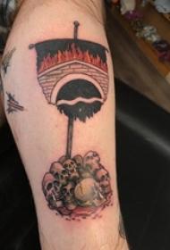 男生手臂上彩绘水彩素描创意骷髅旗帜纹身图片
