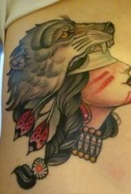 女生胸下彩绘水彩素描文艺唯美人物肖像纹身图片