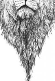 黑色线条素描创意霸气经典狮子头纹身手稿