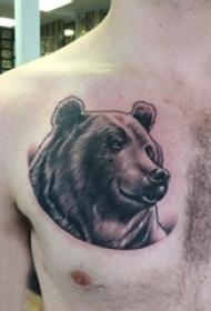 男生胸部黑色点刺简单线条小动物熊纹身图片