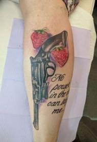 男生手臂上彩绘水彩素描霸气经典手枪纹身图片