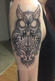 纹身猫头鹰 女生大臂上黑色的猫头鹰纹身图片