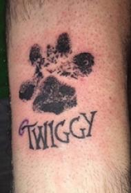 狗爪纹身 男生手臂上狗爪和英文纹身图片