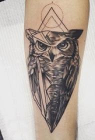 纹身猫头鹰 女生手臂上黑灰纹身猫头鹰图片