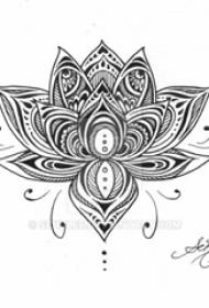 莲花纹身手稿 黑色纹身莲花纹身手稿