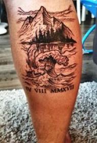 山水纹身图案 男生小腿上山水纹身图案