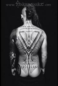 多款黑色線條素描幾何元素創意經典霸氣大面積紋身圖案