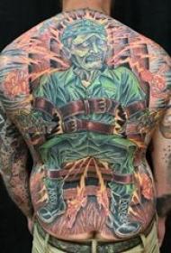 美国士兵纹身 男生后背上大面积美国士兵纹身图片