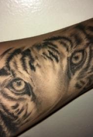 百乐动物纹身 男生手臂上黑色的老虎纹身图片