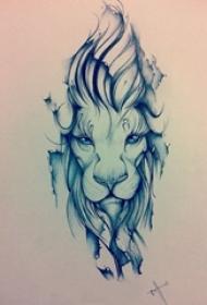 狮子头纹身手稿 素描纹身狮子头纹身手稿